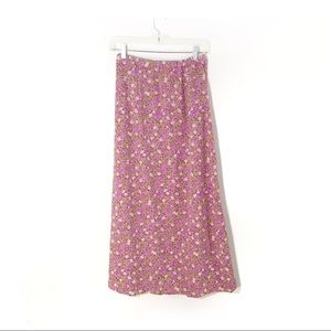 90s-00s Lavender Floral Maxi Skirt, 4, runs small